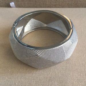 Silver Geometric Hinged Cuff